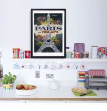 Paris France Fly TWA Jets  - Decorative Arts, Prints & Posters,Wall Art Print, Poster , Vintage Travel Poster